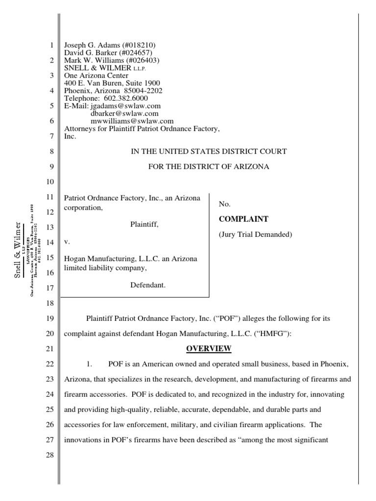 Patriot Ordnance Factory v  Hogan Manufacturing | Injunction