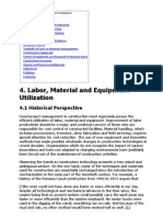Project Manageemnt - The Labour Material and Equipment Utilization