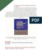Full Solution Manual for Modern Processor Design by John Paul Shen and Mikko H. Lipasti
