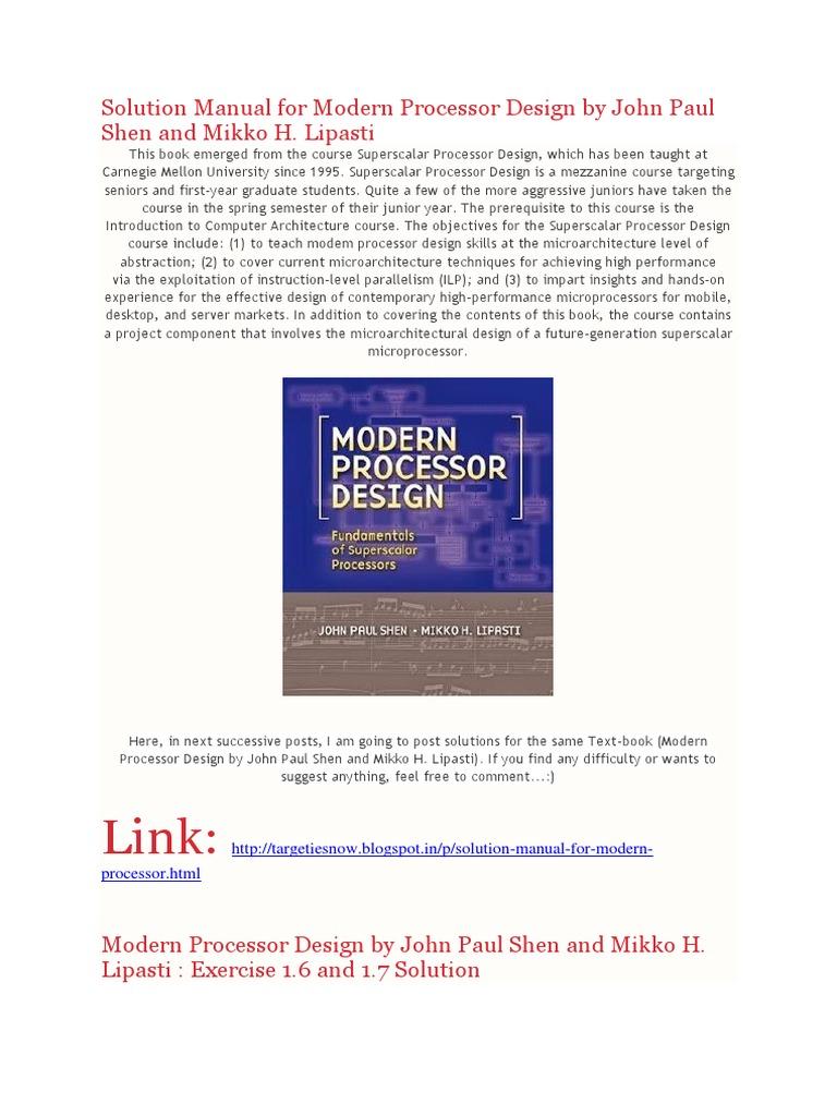 Full Solution Manual for Modern Processor Design by John Paul Shen and  Mikko H. Lipasti | Cpu Cache | Dynamic Random Access Memory