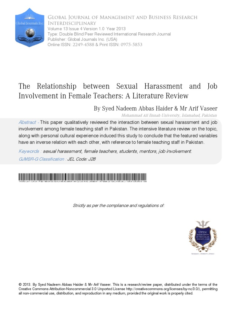 Literature 2 types of sexual harassment