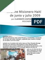 informe Misionero Haití de junio y julio 2009