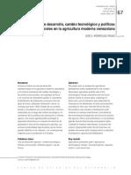 Vías de desarrollo, cambio tecnologico y politicas estructurales en la agricultura moderna venezolana