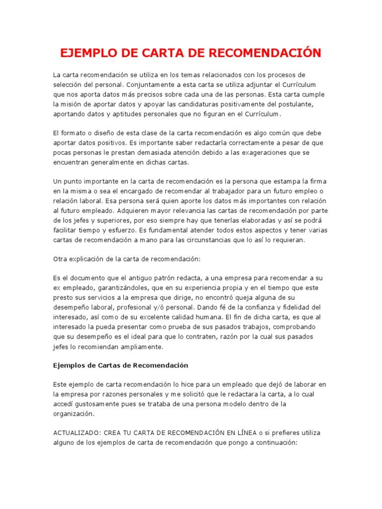 ejemplos de cartas de referencia personal - Gidiye.redformapolitica.co