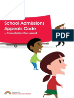 School Admissions Appeal Code UK 2013