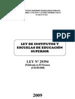 LEY Nº 29394 INSTITUTOS Y ESCUELAS SUPERIORES