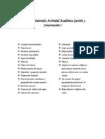 Listado de Materiales Actividad Académica conservación Obras de Arte I
