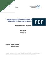 Emigration trends, Labour market, social inclusion, Roma population, Slovenia, regions, period 1990-2012