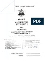 Ext 1 Maths Hsc Task 2 h Yrly 2009 With Solutions2