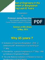 Contribution of Engineers 65 Years IEB