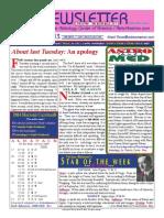 ASTROAMERICA NEWSLETTER DATED SEPTEMBER 17, 2013
