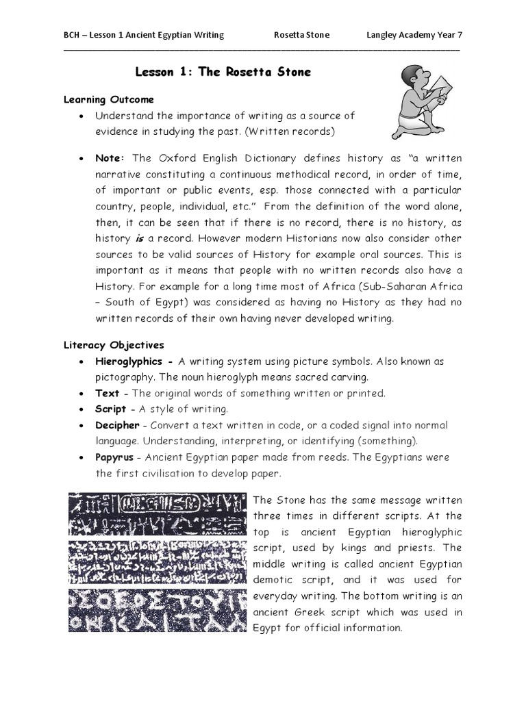 Lesson 1: The Rosetta Stone: Learning Outcome