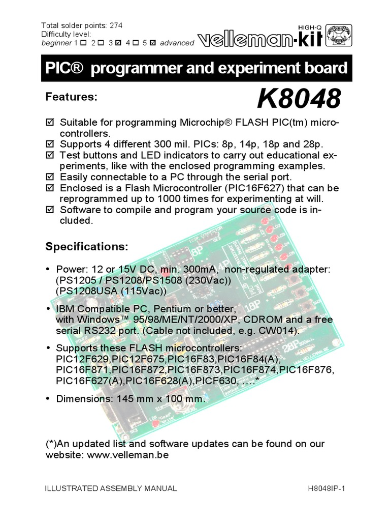 Manual K8048 Pic Microcontroller Printed Circuit Board Blinking Led Using Mikroc Pro