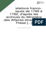 Les Relations franco-helvétiques de 1789 à 1792 d'après les archives du ministère des affaires étrangères Gutsave Gautherot