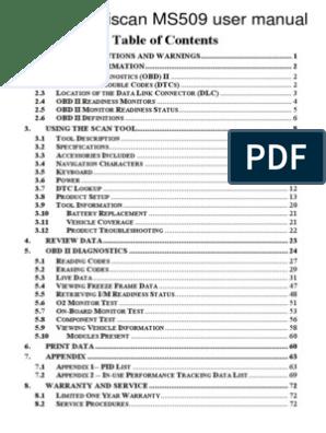 Autel Maxiscan Ms509 User Manual | Automotive Technologies | Vehicle