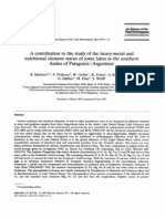 Markert, 1997. A contribution to the study of the heavy-metal ans¡d nutritional element status of some lakes in the souther andes of patagonia.