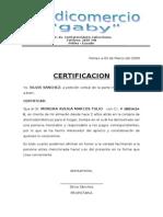 CERTIFICACION Credicomer Gaby
