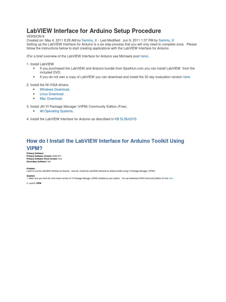 LabVIEW Interface for Arduino Setup Procedure | Arduino