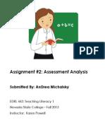 Assesment Analysis EDRL442 Fall2013 AnDreaMichalsky Assignment 2