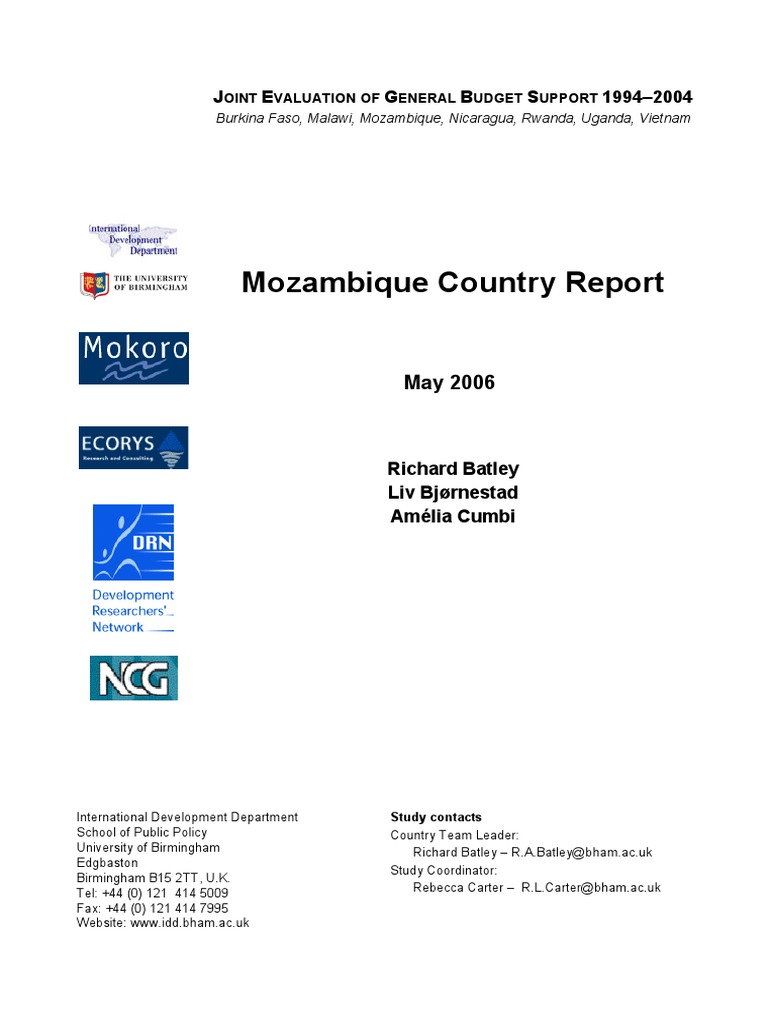 Mozambique Country Report   Poverty Reduction Strategy Paper   Aids