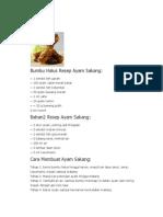 Bumbu Halus Resep Ayam Sakang