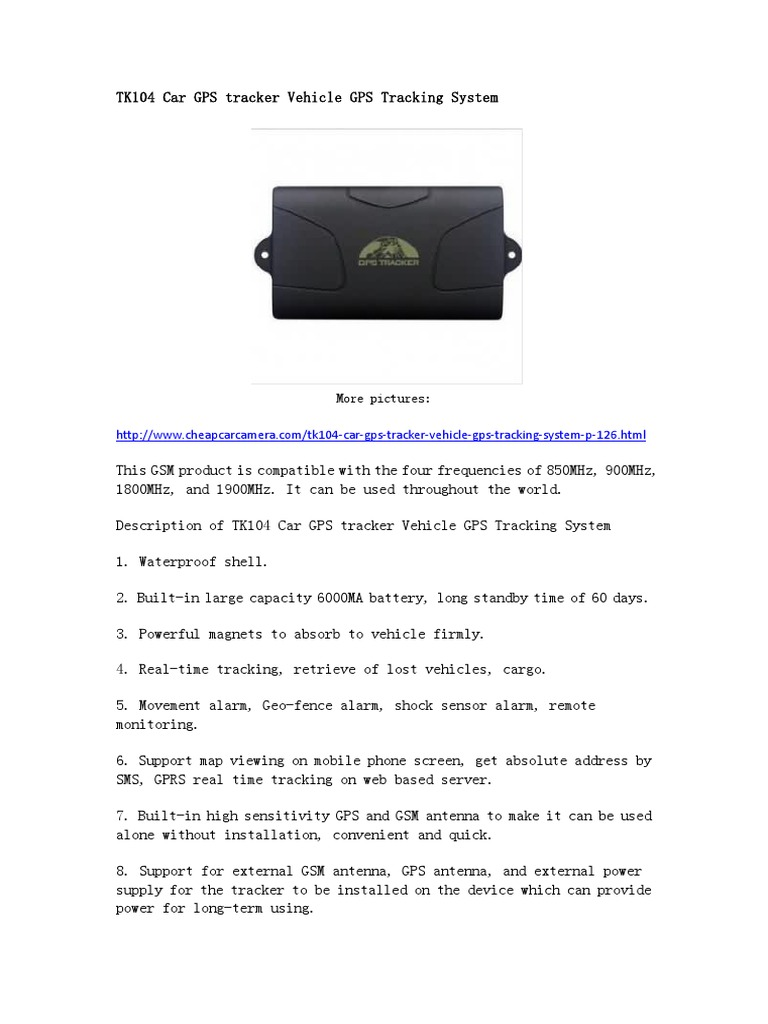 Tk104 Car Gps Tracker Vehicle Tracking System General Packet Remote View Mobile Dvr With Shock Sensor And Wifi Power Adapter Radio Service Global Positioning