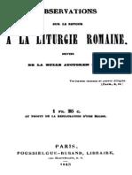 Observations Sur Le Retour a La Liturgie Romaine 000000750