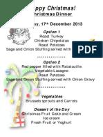 christmas menu december 2013