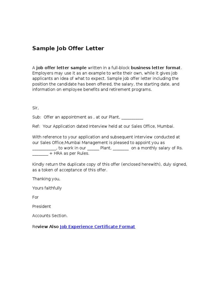 Sample job offer letter yelopaper Gallery