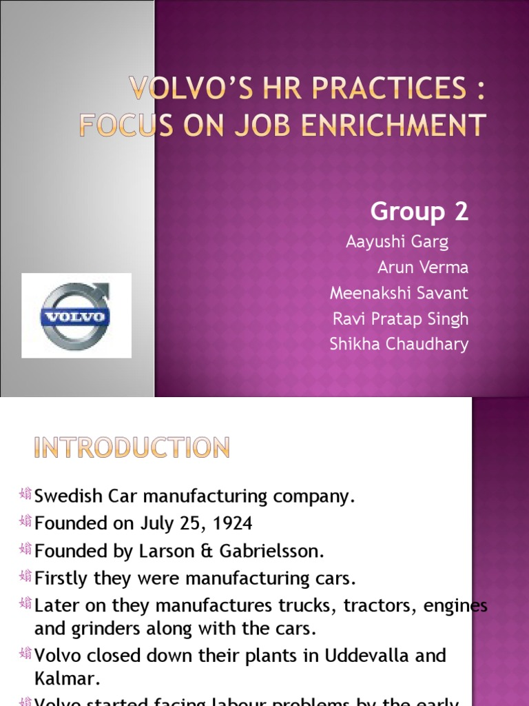 volvo job enrichment