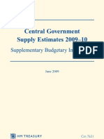 Central Government Supply Estimates 2009–10 Supplementary Budgetary Information