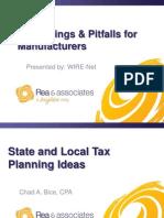 Tax Savings & Pitfalls for Manufacturers