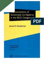 Humphreys J.E. Representations of Semisimple Lie Algebras in the BGG Category O 2008