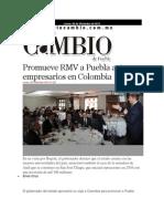 09-12-2013 - Diario Matutino Cambio de Puebla - Promueve RMV a Puebla Ante Empresarios en Colombia
