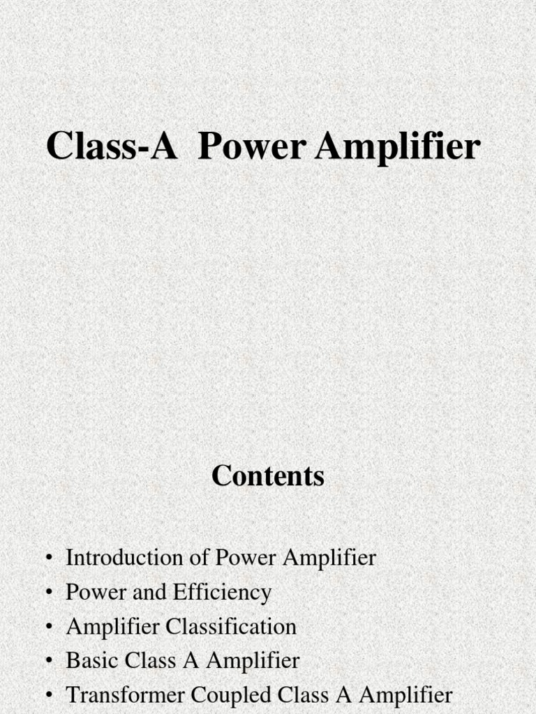 Large Signal Power Amp Intro Class A Pa Amplifier Electrical Amplifiers Engineering