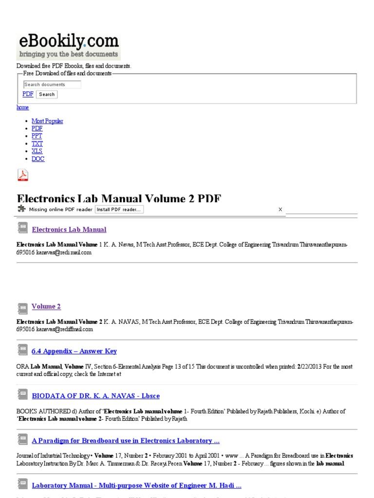 Electronics Lab Manual Volume 2 - Free PDF Downloads   Electronics   Voltage