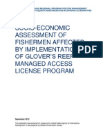 Socio-economic assessment of fishermen affected by implementation of Glover's reef managed access license program