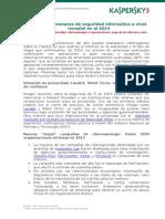 Principales amenazas de seguridad informática a nivel mundial en el 2013 - Kaspersky Lab