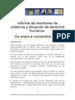 Informe de monitoreo de violencia y situación de derechos humanos  De enero a noviembre 2013