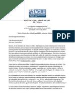Convocatoria y Comunicado Proy. Mujer Policia Aclu (10 de Diciembre de 2013)