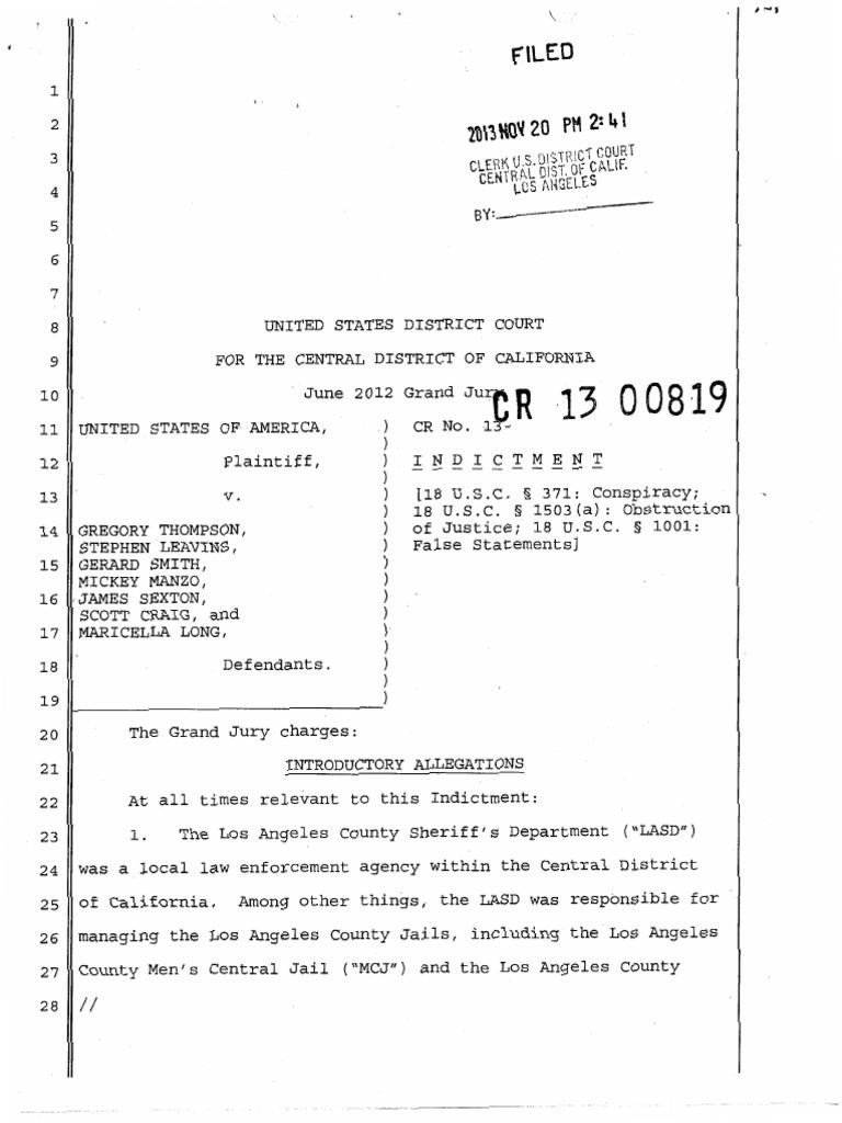 LASD - Obstruction Indictment | Arrest Warrant | Special Agent
