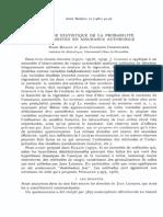 Etude Statistique de La Probabilite de Sinistre en Assurance