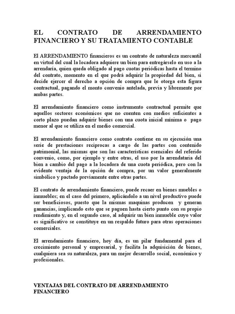 El contrato de arrendamiento financiero y su tratamiento for Arrendamiento de bienes muebles ejemplos