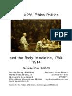Curso Medicine, 1780-1914