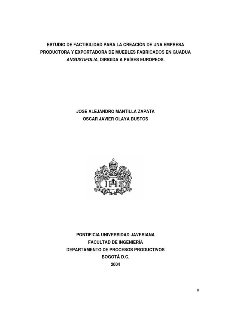 Tesis Estudio De Factibilidad Para La Creacion De Una Empresa  # Certificado Fitosanitario Muebles