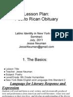 JN+Lesson Plan Puerto Rican Obituary