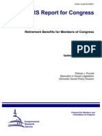 Retirement Benefits for Members of the US Congress