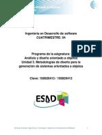 Unidad 3. Metodologias de Diseno Para La Generacion de Sistemas Orientados a Objetos