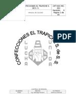 Manual de Calidad Confecciones El Trapiche s. de s. s.