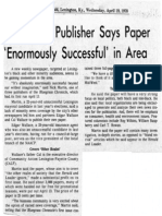 'Chronicle' Publisher Says Paper 'Enormously Successful' in Area
